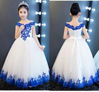 Royal Blue Pizzo Bianco Tulle Girls Girls Dresses per abito da sposa a pallone da sposa fuori dalla spalla backless Abito prima comunione a buon mercato
