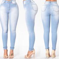 جديد ربيع الخريف عارضة الدينيم سروال رصاص المرأة طحن الأبيض مطاطا نحيل الإمتداد جينز عالية الخصر الجينز زائد الحجم