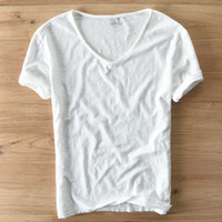 Yaz T Gömlek Erkek Keten Pamuk Kısa Kollu Tişört V Yaka Tops Tee Nefes Rahat Ince T-shirt Erkekler