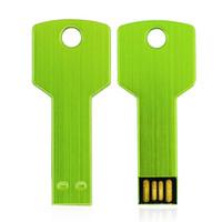 Handbisk® 금속 키 USB 플래시 드라이브 32GB 64GB 16GB 8GB 4GB 2GB 1GB USB 펜 드라이브 메모리 스틱 (녹색)