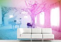 Personalizzato 3D Stereoscopico Walpaper Rosa piano neve scena tv divano sfondo muro dipinto foto wall papers home decor