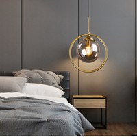 Loft moderno colgante luz colgando lámpara colgante de la noche isla suspensión dormitorio magia frijol oro bolas de vidrio iluminación
