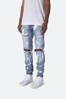 رجل مطبوعة غسلها هول جينز الصيف الأزياء نحيل الضوء الأزرق المبيضة سروال رصاص الجينز الهيب هوب الشارع