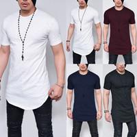 E-BAIHUI Hombres Rock T-shirt Longitud extendida Camiseta de línea larga Ropa de hombre dobladillo curvado Hip Hop Streetwear Ropa Color sólido Tee TP17