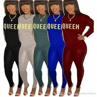 QUEEN Letters Sequined Tracksuits for Women 2PCS Tops Pants ...