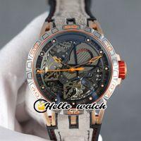 New Excalibur Aranha RDDBEX0624 Double Tourbillon homens relógio automático Skeleton Dial Two Tone Rose Gold aço capa cinza Hello_watch Couro