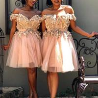 2020 modestes robes de demoiselle d'honneur courtes pour mariages de plage une ligne pêche à l'épaule Appliques fleurs avec une ceinture perlée