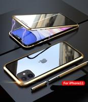 Flip ADSORPHE MAGNETIQUE ANTI-PEPING CASE VERRE TREMPÉE PLEPIÉE POUR IPHONE 11 PRO MAX XR XS MAX 8 7 6 iPhone 12 Pro Max