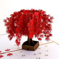 3D بطاقات المعايدة الأحمر القيقب الأشجار المنبثقة بطاقة لأمي زوجة عيد ميلاد شكرا لك عيد الحب أطفال هدية السائبة عيد الميلاد الديكور