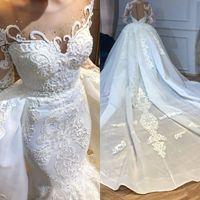 2020 Luksusowy arabski Dubai Syrenki Suknie Ślubne z odpinanym Overtkirts Sheer Neck Zroszony Z Długim Rękawem Koronki Suknie Ślubne