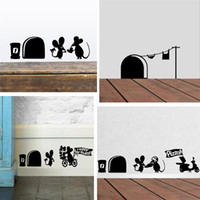 Funny Love Mouse Hole Wall Stickers For Kids Rooms Wall deca...