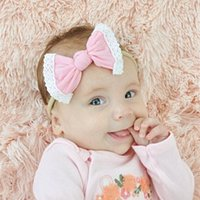 Wholesales Nylon Headband Exquisite Lace Trim Hair Bows Kids...