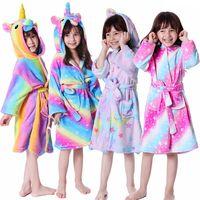 Sevimli Unicorn Nightgowns Romper Flanel çocuklar kapüşonlu Tek parça Pijama Hayvan Bebek Kız Bornoz Çocuk peluş Tulum Cosplay LJJA3355-3