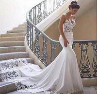 Sexy Spitze Meerjungfrau Strand berta Brautkleider 2019 Rückenfreies Boho Kundenspezifisches Hochzeitskleid Spitze Meerjungfrau Brautkleider echtes Bild Simple Wear