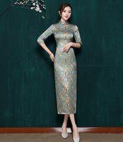 In 2019 der neuen Stil der Seide cheongsam mit Selbst-Anbau, lange niedrigem offenem Kragen, mittlere Hülse cheongsam, chinesisches Gruß Kleid der Braut