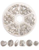 Una caja de 90pcs Mixed Lots granos del espaciador de metal de plata Antiqued