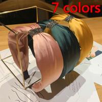 Einfache Breitkante Silk Hair Hoop Weibliche Gesichtswaschkopfband Rutschfest Druck Temperament Neue Haarschmuck 7 Farben