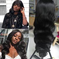Parrucche anteriori dei capelli umani del pizzo di Wave del corpo per le parrucche piene del merletto dei capelli umani brasiliani umani delle donne con i capelli del bambino Stile nero di colore nero naturale