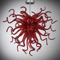 현대 LED 천장 램프 미니 레드 무라노 유리 작은 크리스탈 샹들리에 조명 침실 거실