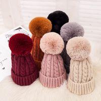قبعة صغيرة قبعة مع إزالة لطيف الكرة في الهواء الطلق في فصل الشتاء محبوك قبعات النساء بنات مطاطا مجاني حجم 6 ألوان الشتاء الدافئة VT0514