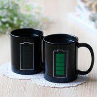 vendite calde della batteria Tazza magica positivo colori Energia Cambiare Articoli da regalo in ceramica tazza di sbiadimento del tè del caffè latte tazze della novità