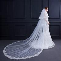 2019 Nouveau Bridal Veils avec peigne 2 couches En stock 3m Lace Veu De Noiva Appliqués Longo Veil mariage