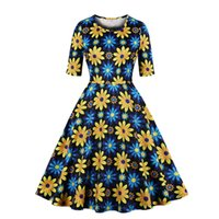 Womens Retro Vintage Swing Dress Yellow Flower Short Sleeve ...