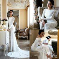 O шеи шнурка оболочки Bohemia свадебные платья Длинные рукава атласная аппликация Плюс Размер Modest Arabic Свадебные платья BC2685