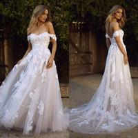 3D Blumen Applikationen Romantisches Land Brautkleid 2020 weg von der Schulter einer Linie langen Spitze Brautkleider anpassen Plus Size vestidos de novia