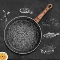Мраморный камень антипригарной сковороды с жаропрочных бакелит Handl Гранит Индукционная Egg Skillet мыть в посудомоечной машине Кухонный инструмент