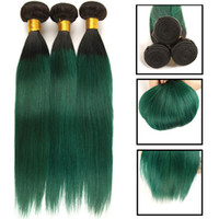 3 Pcs Ombre Brazilian Hair Straight Bundles T1B Green Purple...