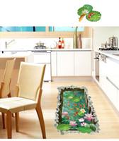 Adesivi per pavimenti in stagno di pesci 3D per camerette per bambini camera da letto terra Antiscivolo decorazione del pavimento di casa murale poster wal decalcomanie di arte