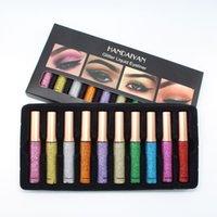 Handiyan 10pcs / set glitter liquido eyeliner paillettes luccichio impermeabile metallico occhiali rivestire argento oro occhio trucco cosmetici strumenti