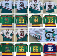 96 Charlie Conway the Mighty Ducks Moive Hockey Jersey 99 Adam Banks 66 Gordon Bombay 33 Goldberg 44 Reed Dean Portman Spedizione gratuita