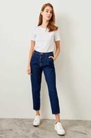 Trendyol Blue High талия джинсы морковь TCLSS19LR0065 Y19042901