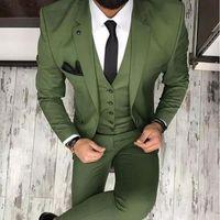 Verde oliva Mens ternos para ternos de casamento para os homens do noivo smoking 2019 entalhado lapela Slim Fit Blazer Três Man Pieces Tailor Made Vestuário