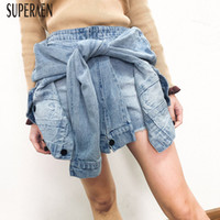 SuperAen 2019 Spring and Summer New Denim Shorts Women Wild ...
