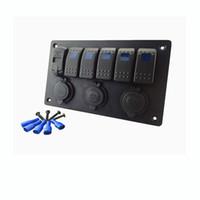 Voltmetro digitale + presa per sigaretta 12V + doppio adattatore per caricabatterie USB in alluminio da incasso 6Gang pannello interruttore a bilanciere nero camper auto