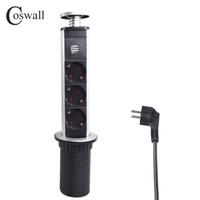 COSWALL 16A PULL UP POP 3 Presa di alimentazione 2 porta USB di ricarica Kitchen Table Desktop Sockets retrattile Piani di Piano di lavoro EU Plug