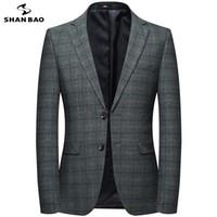 marchio SHANBAO due uomini fibbia sottile vestito di affari casuale 2019 della molla nuovo stile di alta qualità stile britannico sub-giacca