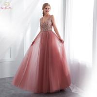 2019 Prom Vestidos Longos Com Decote Em V Beading Alta Dividir Perna Tule Pastel Mulheres Ocasião Formal Desgaste Elegante Vestidos de Noite Uma Linha