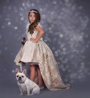 2020 새로운 하이 - 로우 꽃의 소녀 드레스 보석 목 깃털 보헤미안 영성체 드레스를 들어 어린 소녀 반팔 A-라인 여자 선발 대회 드레스