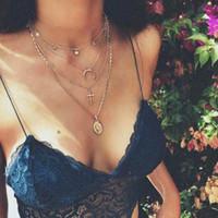 Vintage Cross Moon Virgin Mary Chain многослойное ожерелье Set Lady Party длинное ожерелье Деликатный ювелирные изделия N1503