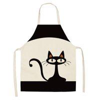 55 * 68 cm Cat Pattern Grembiuli da cucina Unisex Dinner Party Cooking Bbs Funny Pinafore Strumenti per la pulizia Pinafore Grembiule di lino in cotone