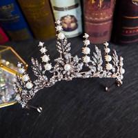 الرجعية الباروك العروس تيجان مجوهرات النساء غطاء الرأس الزفاف ولي هوب العروس غطاء الرأس 2021