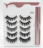 Free Shipping ePacket new Magnetic Liquid Eyeliner 5 Pairs 1 Box Magnetic False Mink Eyelashes Long Lasting Eyeliner False Eyelashes 9999