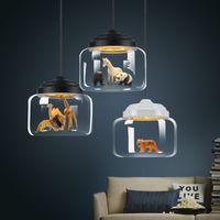 Modern Cam LED Kolye Lambaları Işıkları Nordic Avize Aydınlatma Postmodern Minimalist Hayvan Bar Lambaları Yatak Odası Yemek Odası Asılı Lambalar