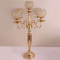 73cm di altezza Portacandele a 5 bracci / 3 bracci Portacandele Decorazione di nozze Candelabro centrotavola Candeliere Argento / Oro decor00032