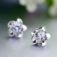 Plum plateado plum flor de oído tachuelas sol aretes de flor aretes diamant