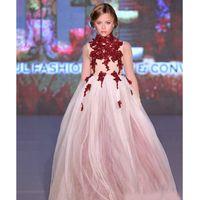 Spitze High Neck Kleine Mädchen Pageant Kleider Applikationen Kleinkind Ballkleid Blumenmädchen Kleid Bodenlangen Tüll Perlen Erste Kommunion Kleider